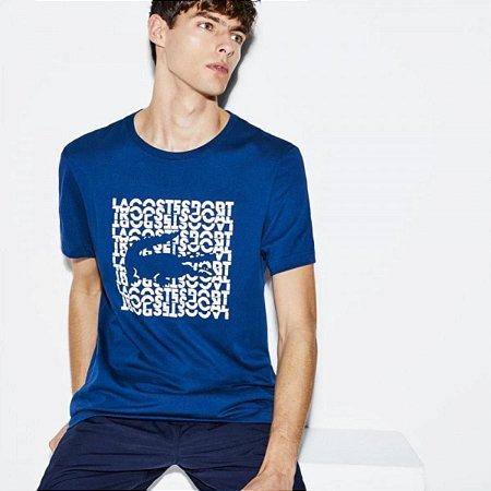 Camiseta Lacoste Sport Estampa Quadrada - Azul Marinho