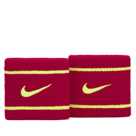 Munhequeira Curta Nike Dri-Fit 2 UN. - Rosa Escuro e Amarelo