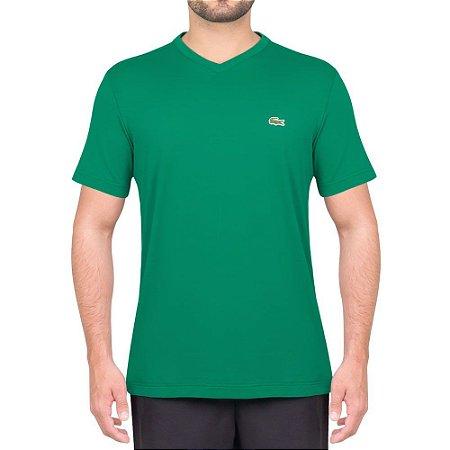 Camiseta Lacoste Masculina Gola V ALGODÃO COM POLIÉSTER- Verde