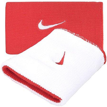 Munhequeira Comprida Nike Dri-Fit Dupla Face - Branco e Vermelho