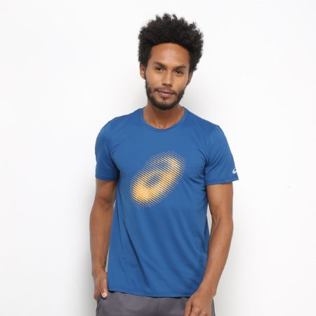 Camiseta Asics Running Logo Masculina - Azul