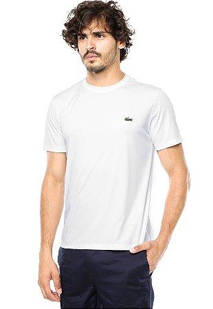 Camiseta Lacoste Masculina Técnica 100% POLIÉSTER - Branca