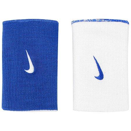 Munhequeira Nike Comprida Dri-Fit Dupla Face - Azul e Branco