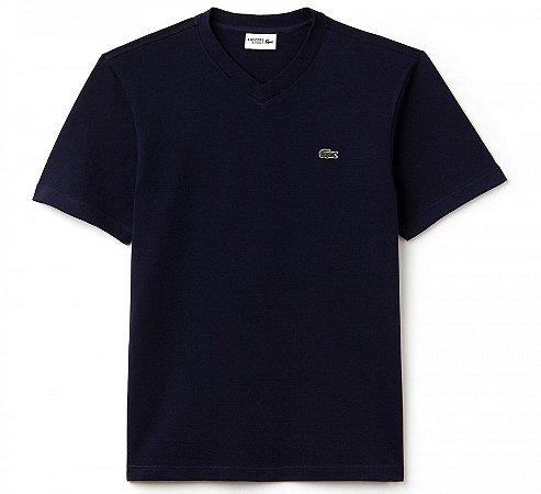 Camiseta Lacoste Gola V 100% ALGODÃO - Azul Marinho