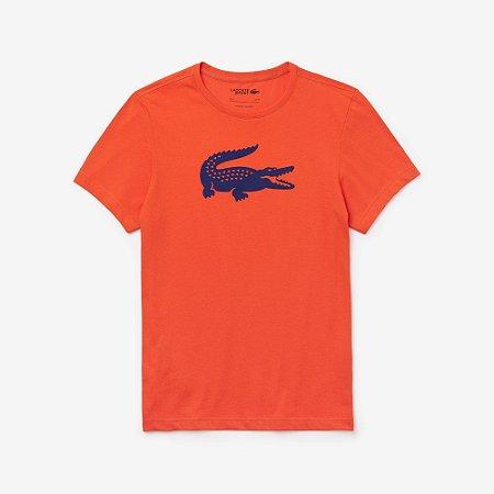 Camiseta Lacoste Sport Com Crocodilo Superdimensionado - Laranja