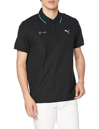 Camisa Polo Puma Mercedes AMG Petronas - Preto e Verde (Detalhe Gola)