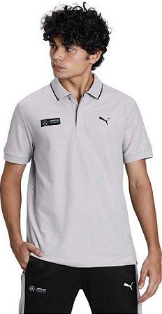 Camisa Polo Puma Mercedes AMG Petronas - Cinza (Detalhe Gola)
