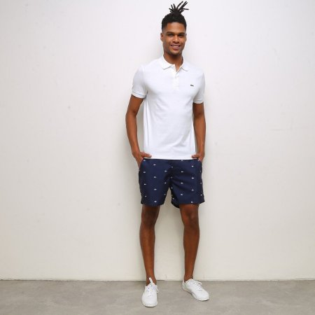 Camisa Polo Lacoste Regular Fit Algodão Lisa - Branco