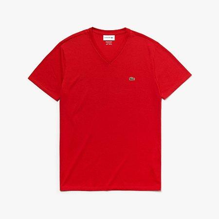 Camiseta Lacoste Jérsei de Algodão Pima com Gola V - Vermelha