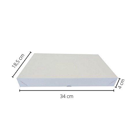Cx branca DO-02/B 34x18,5x4 cm.Pacote c/10 unid. Valor unid.R$ 2,99