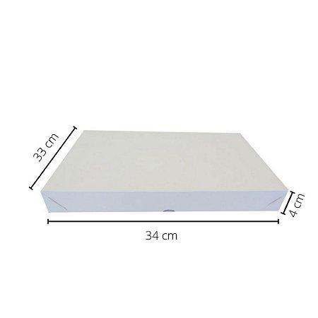 Cx branca DO-03/B 34x33x4 cm.Pacote c/10 unid. Valor unid.R$ 4,33