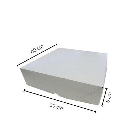 Cx branca SA-03/B 40x39x6 cm.Pacote c/10 unid. Valor unid.R$ 6,30