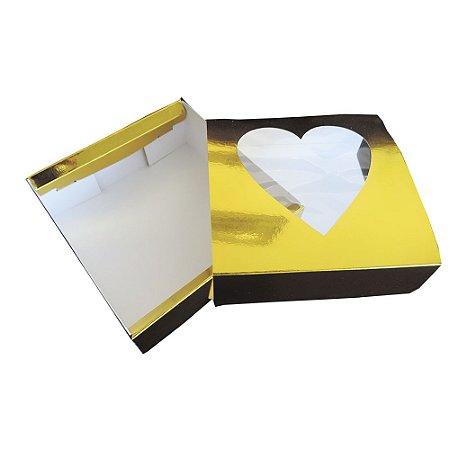 Caixa Presente Love Gold  --- C 115 x L 115 x A 40 mm. Pacote com 50 unidades.