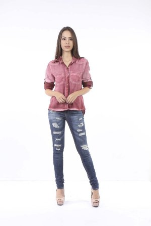 CAMISA COLOR DENIM FENDA - BORDO