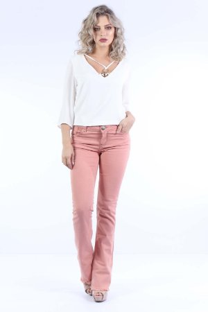 CALÇA MID BOOT CUT COLOR - BLUSH