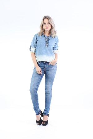 CAMISA DENIM DEGRADE - AZUL INDIGO