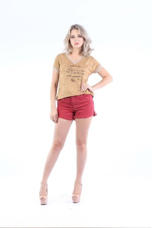 T-SHIRT CASUAL SUEDE - CAMELO