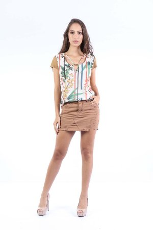 T-SHIRT HAPPY HOUR ESTAMPA + SUEDE - TERRAL FLOWERS OFF