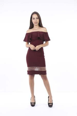 VESTIDO HAPPY HOUR COM ELASTANO - BORDO