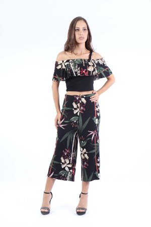 CROPPED HAPPY HOUR BABADO - TERRAL FLOWERS PRETO