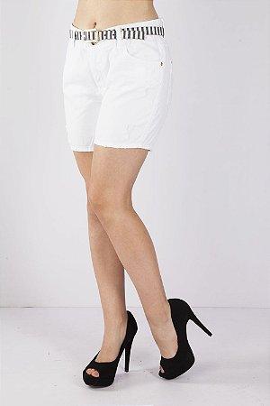 Bermuda Jeans Bana Bana Girlfriend com Cinto Branca