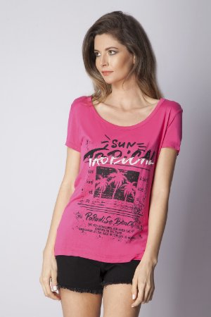 T-SHIRT CASUAL ESTAMPADA - ROSA