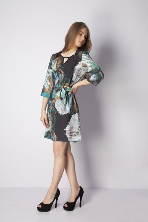 VESTIDO CHEMISIER CASUAL ESTAMPADO - PISCES TAIL