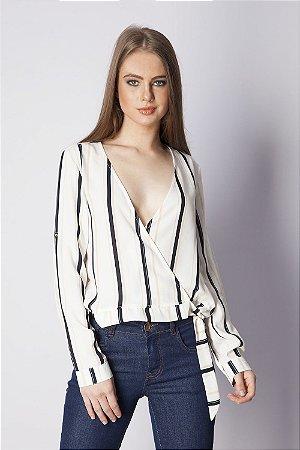 Camisa Bana Bana Transpassada com Amarração Listrada Off White