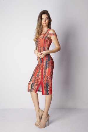 VESTIDO CASUAL RIBANA - STRIPES LINES RED