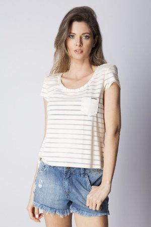 T-SHIRT CASUAL LISTRADA TRANSPARENTE - OFF-WHITE