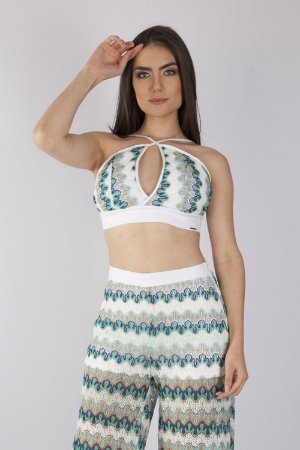 CROPPED HAPPY HOUR RENDA COLOR - OFF WHITE/VERDE