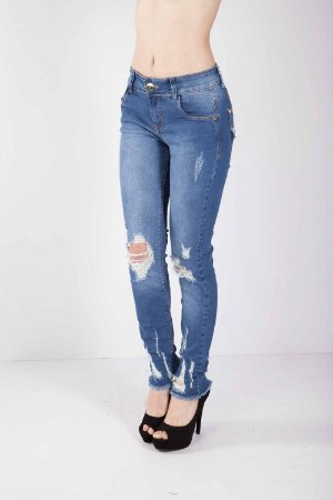 Calça Jeans Bana Bana Midi Skinny Reserva no Bolso Azul