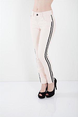 Calça Jeans Bana Bana Midi Skinny Resinada Nude