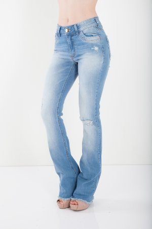 CALÇA HIGH BOOT CUT COM DESTROYER - AZUL INDIGO
