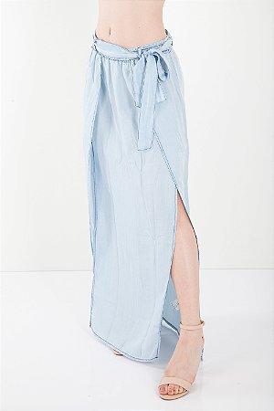 Saia Jeans Bana Bana Longa com Fenda e Amarração Azul