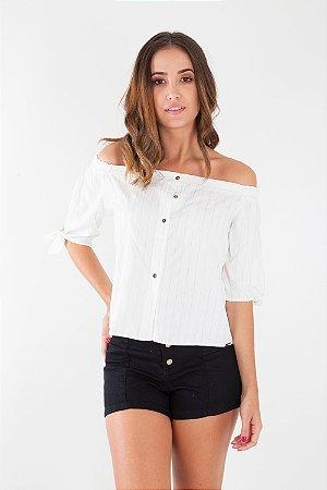 Camisa Bana Bana Ombro a Ombro Listrada Off White e Preto