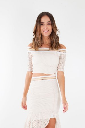 CROPPED HAPPY HOUR ELÁSTICO - OFF-WHITE