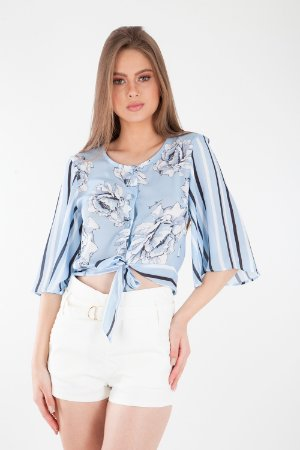 BLUSA HAPPY HOUR AMARRAÇÃO - LIGHT BLUE SKY