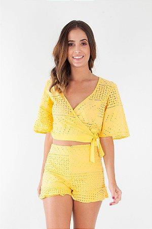 Blusa Bana Bana com Transpasse e Amarração Lese Amarela