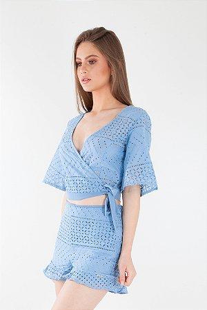 Blusa Bana Bana com Transpasse e Amarração Lese Azul Bebê