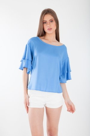 BLUSA LISA HAPPY HOUR - AZUL