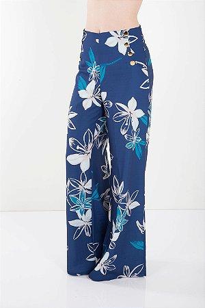 Calça Alfaiataria Bana Bana Pantalona Estampada Azul