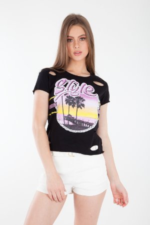 T-SHIRT CASUAL OLD - PRETO