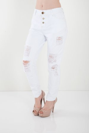 Calça Jeans Bana Bana Girlfriend Branca