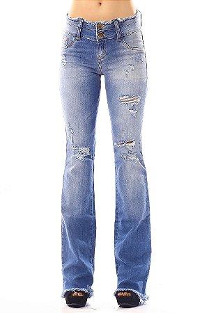 Calça Jeans Bana Bana Flare Two Belts Azul