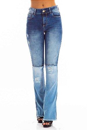 Calça Jeans Bana Bana Midi Boot Cut com Recorte