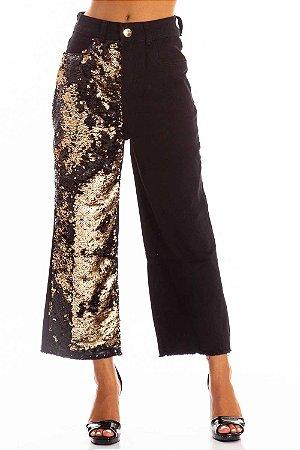 Calça Jeans Bana Bana Mom Fit com Detalhe Paetê Preta