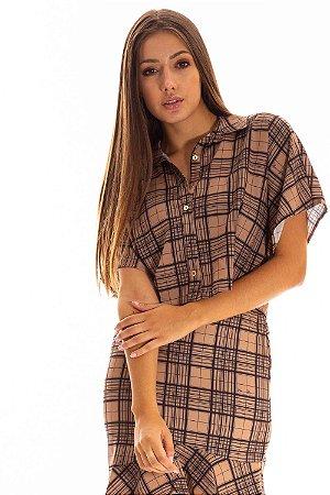 Camisa Cropped Bana Bana Xadrez