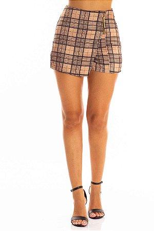 Shorts Saia Bana Bana Assimétrico Estampado