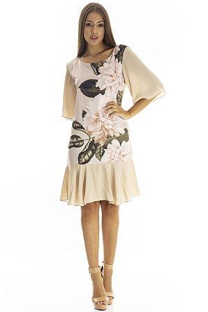 Vestido Bana Bana Curto com Leve Peplum